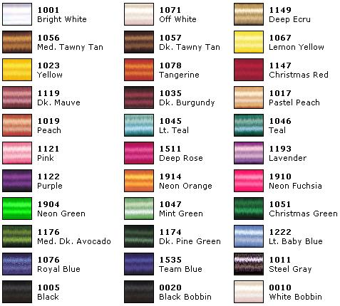 Janome Embroidery Thread Color Chart