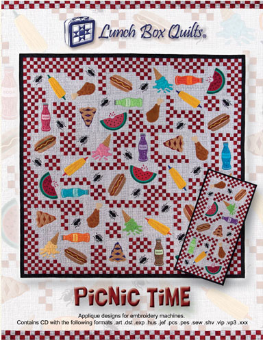 Janome Lunch Box Quilts Picnic Time Embroidery Designs CD