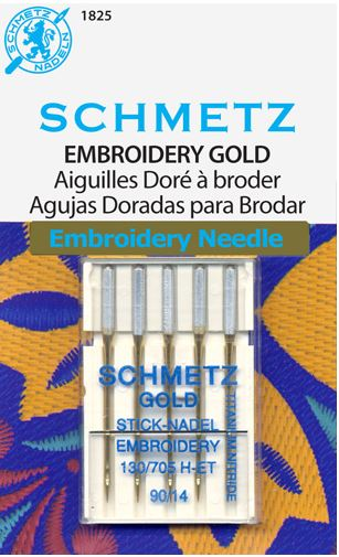 Schmetz 130//705H-ET Titanium Gold Embroidery Sewing Needles 5 Pk
