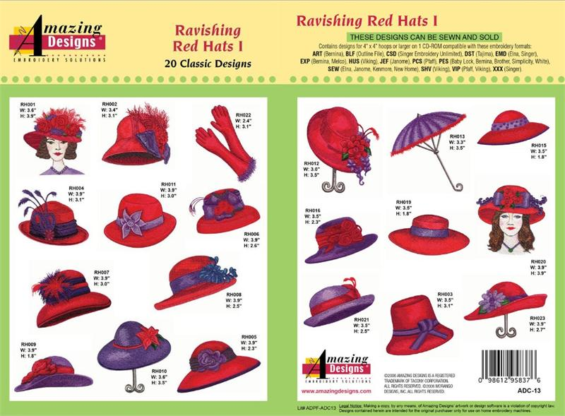 Amazing Designs ADC-13 Ravishing Red Hats I Embroidery Designs