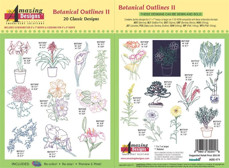 Amazing Designs Embroidery CD-Botanical Outlines 1+GIFT