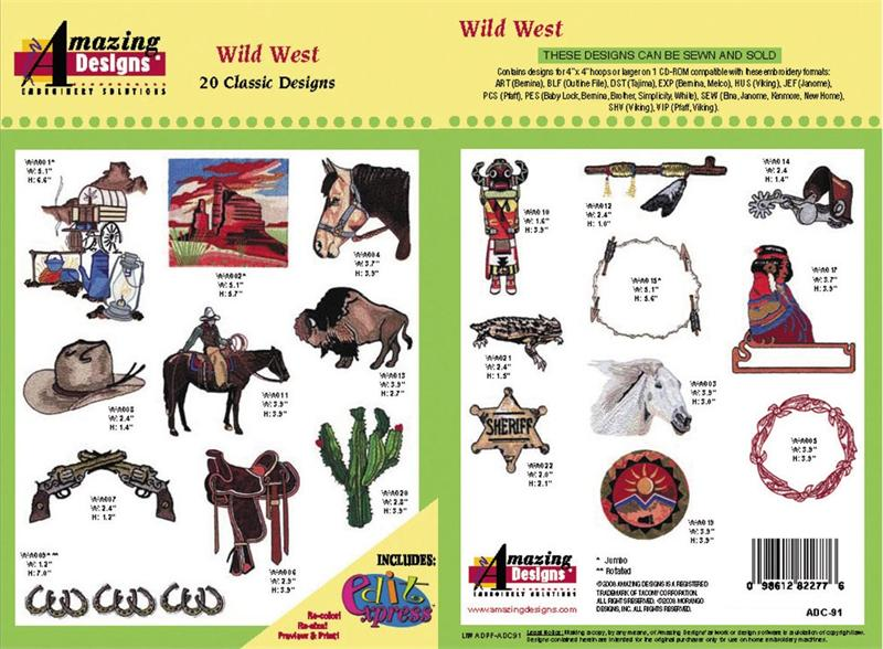 Amazing Designs Adc 91 Wild West Embroidery Designs