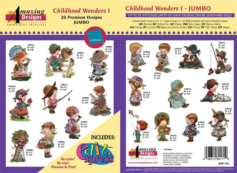 MACHINE EMBROIDERY DESIGNS ON CD OR USB CHILDHOOD WONDERS COLLECTION 1